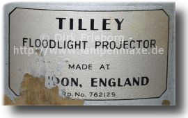 Tilley® FL6 Typenschild